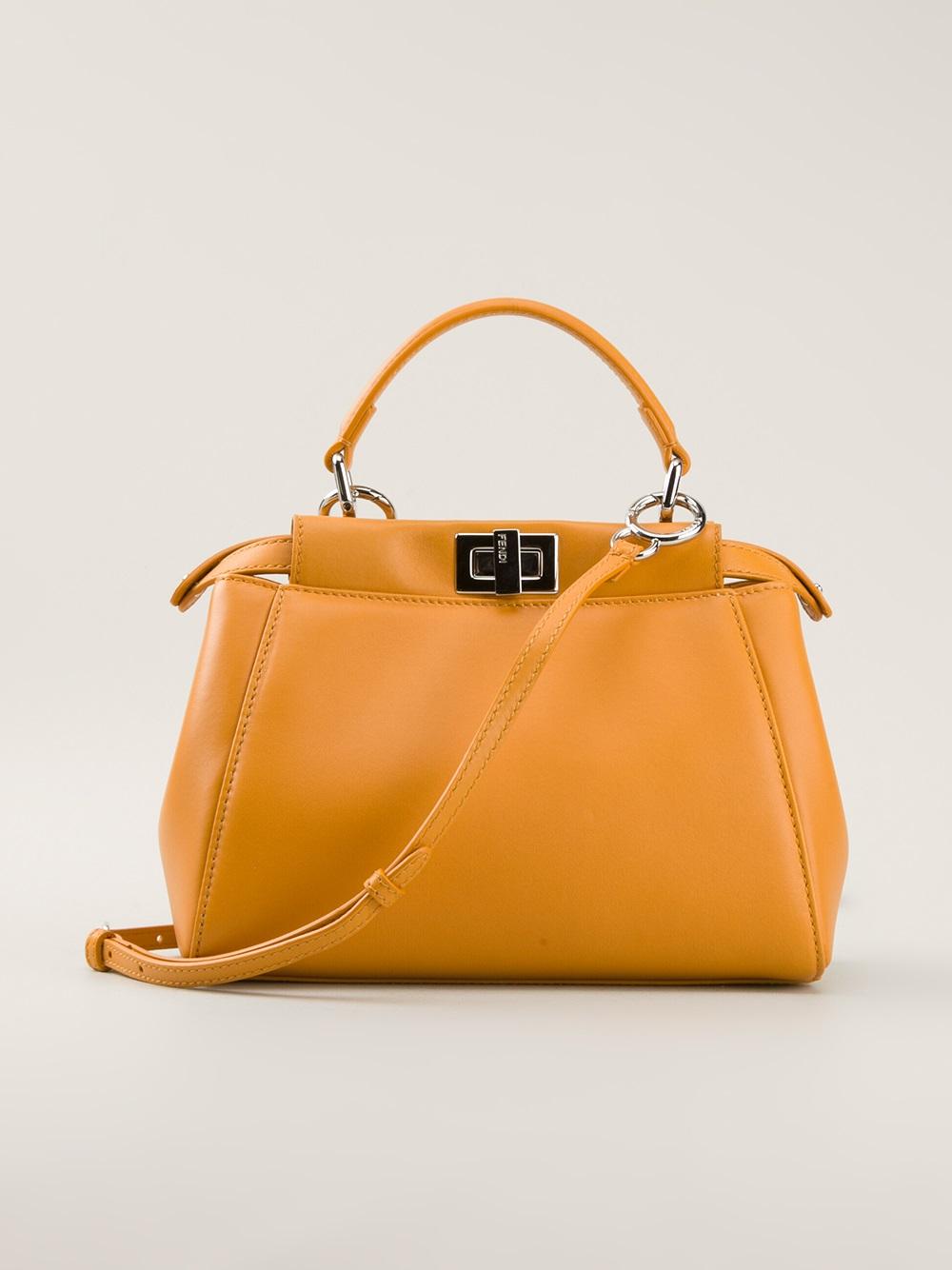 8bad147bfa41 ... clearance fendi peekaboo small tote bag in yellow lyst 33bec a228b