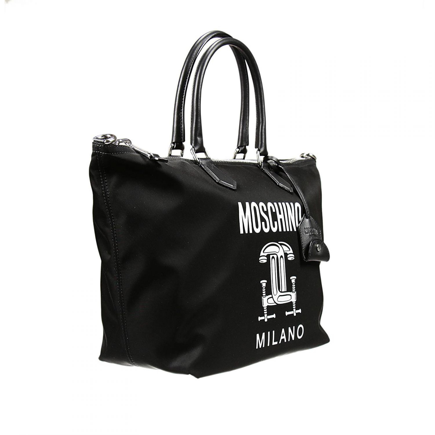moschino nylon shopping bag in black lyst. Black Bedroom Furniture Sets. Home Design Ideas