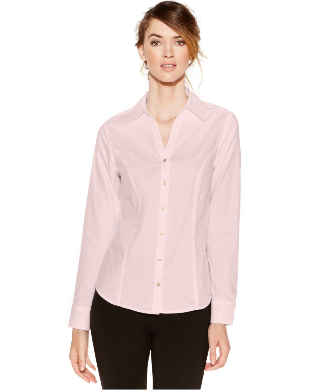 Calvin klein non iron button down top in pink light pink for Pastel pink button down shirt