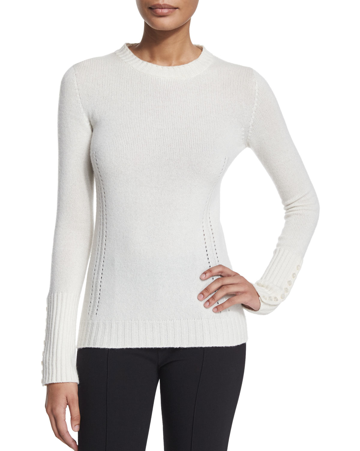 Agnona Long-sleeve Button-cuff Cashmere Sweater in White | Lyst