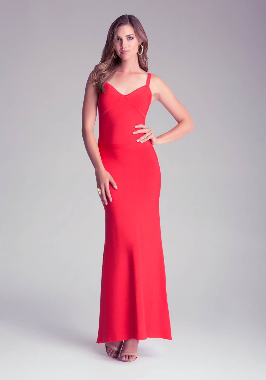 Bebe Bodycon Maxi Dress In Red Lyst