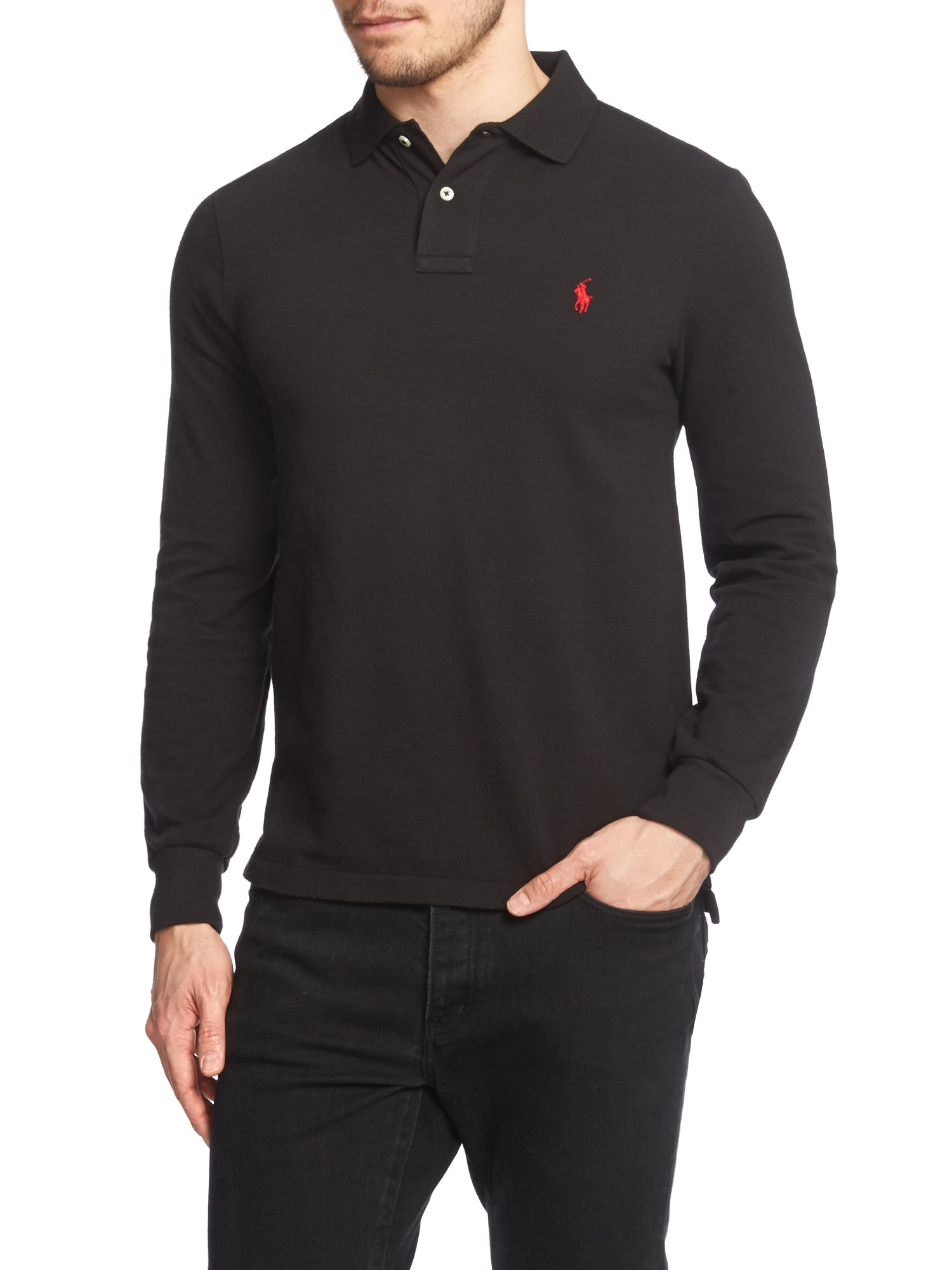 Lyst polo ralph lauren plain polo shirt long sleeve slim for Black fitted polo shirt