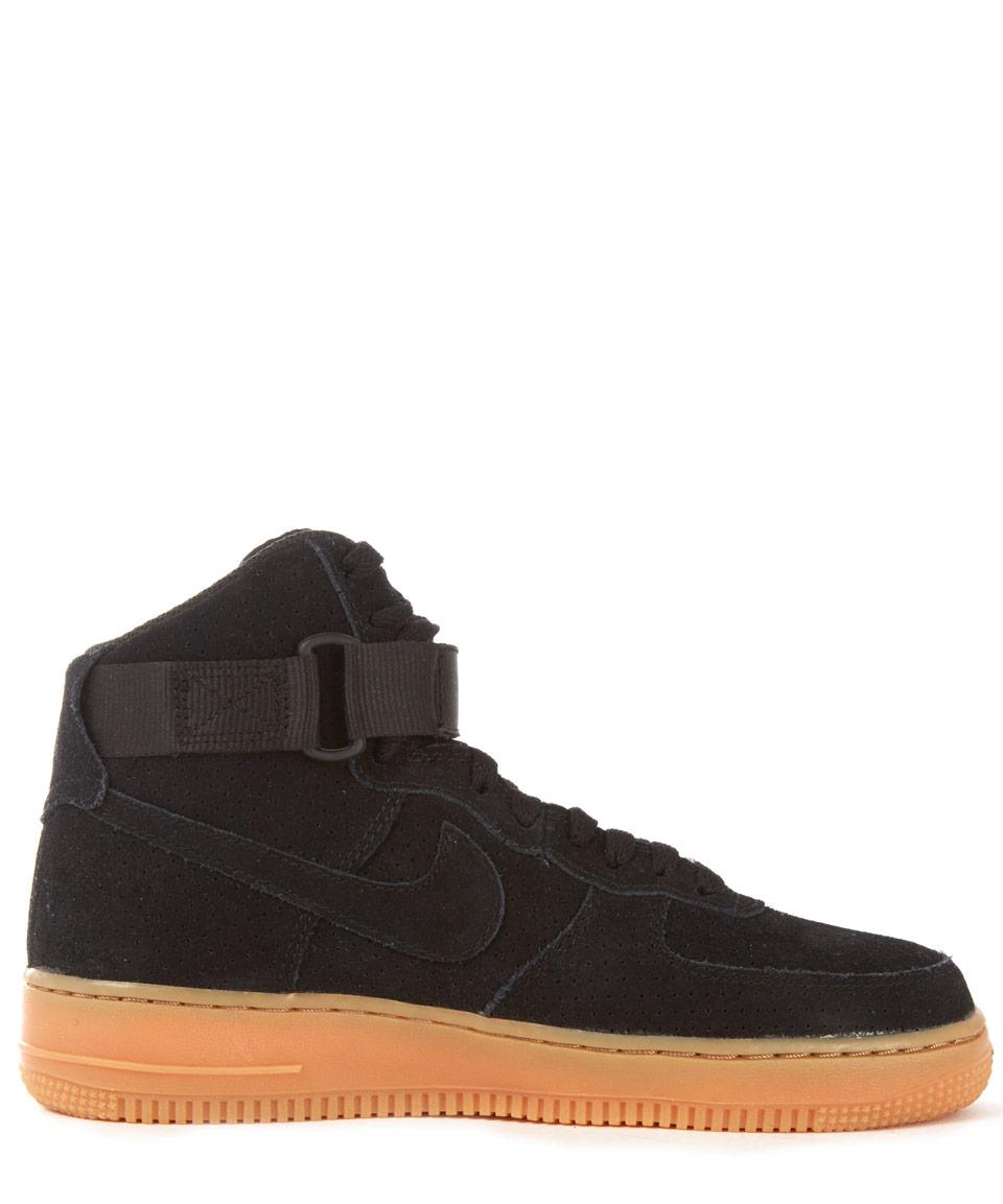 nike black air force 1 suede hightop trainers in black lyst
