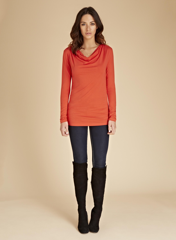 Orange Top With Umbrella Sleeves The Vanca: Baukjen The Cowl Neck Top In Orange