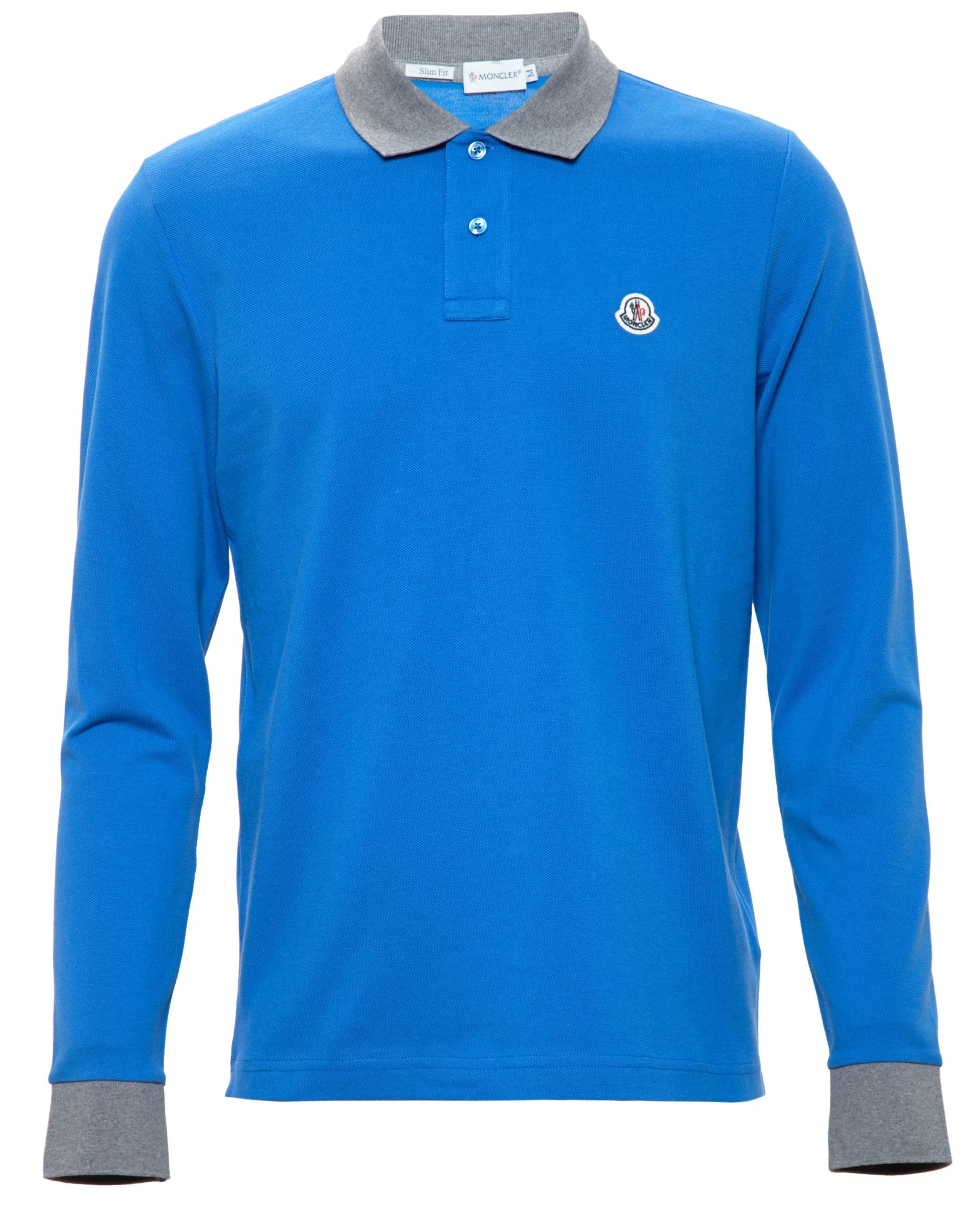 moncler blue long sleeve polo