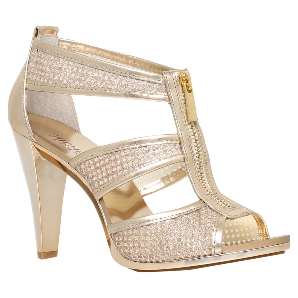 michael michael kors berkley zip front high heel sandals in metallic lyst. Black Bedroom Furniture Sets. Home Design Ideas