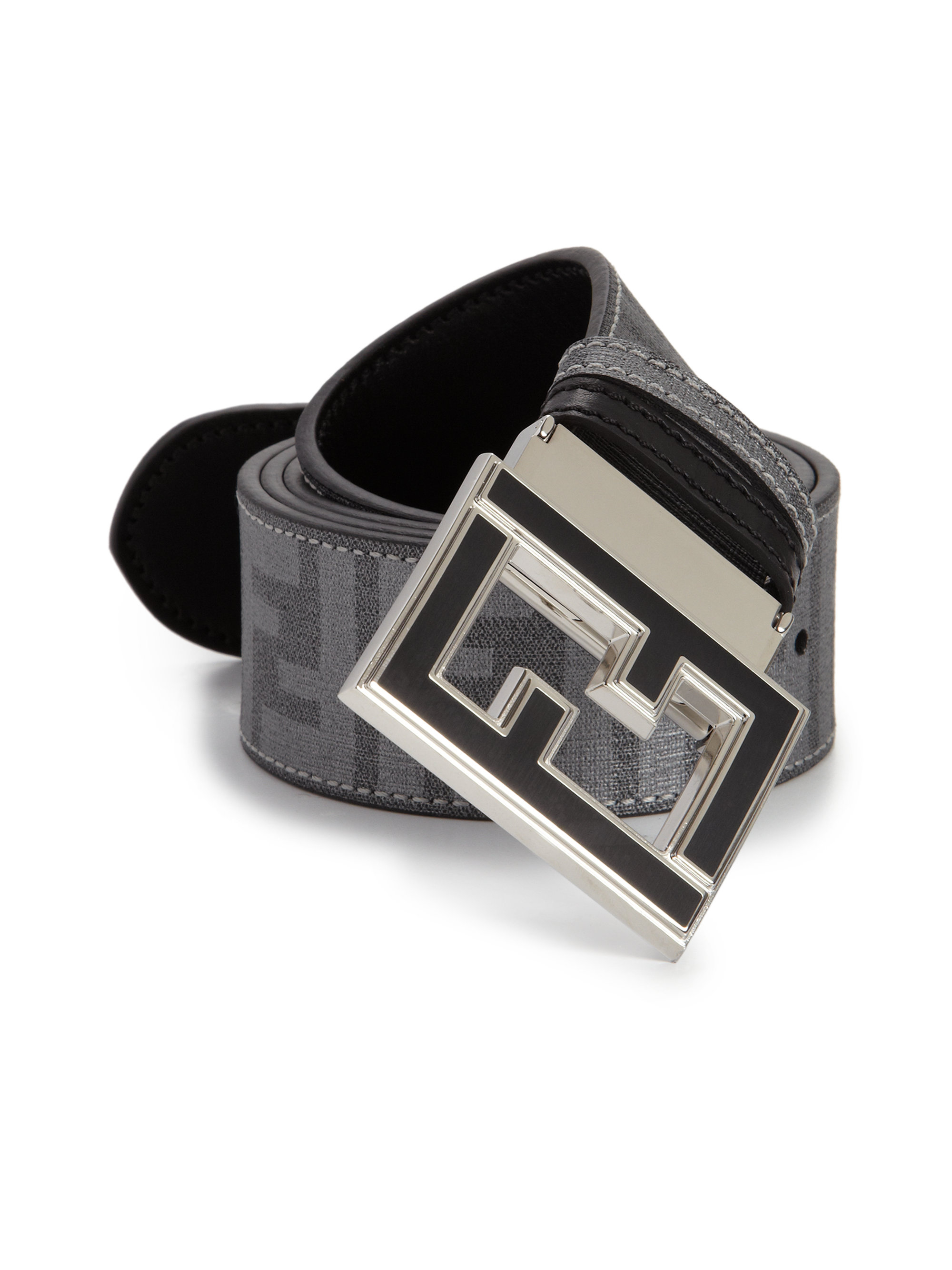 ... sweden lyst fendi logo college belt in gray for men 5473d 6a8fc 3b0c41446e5c2