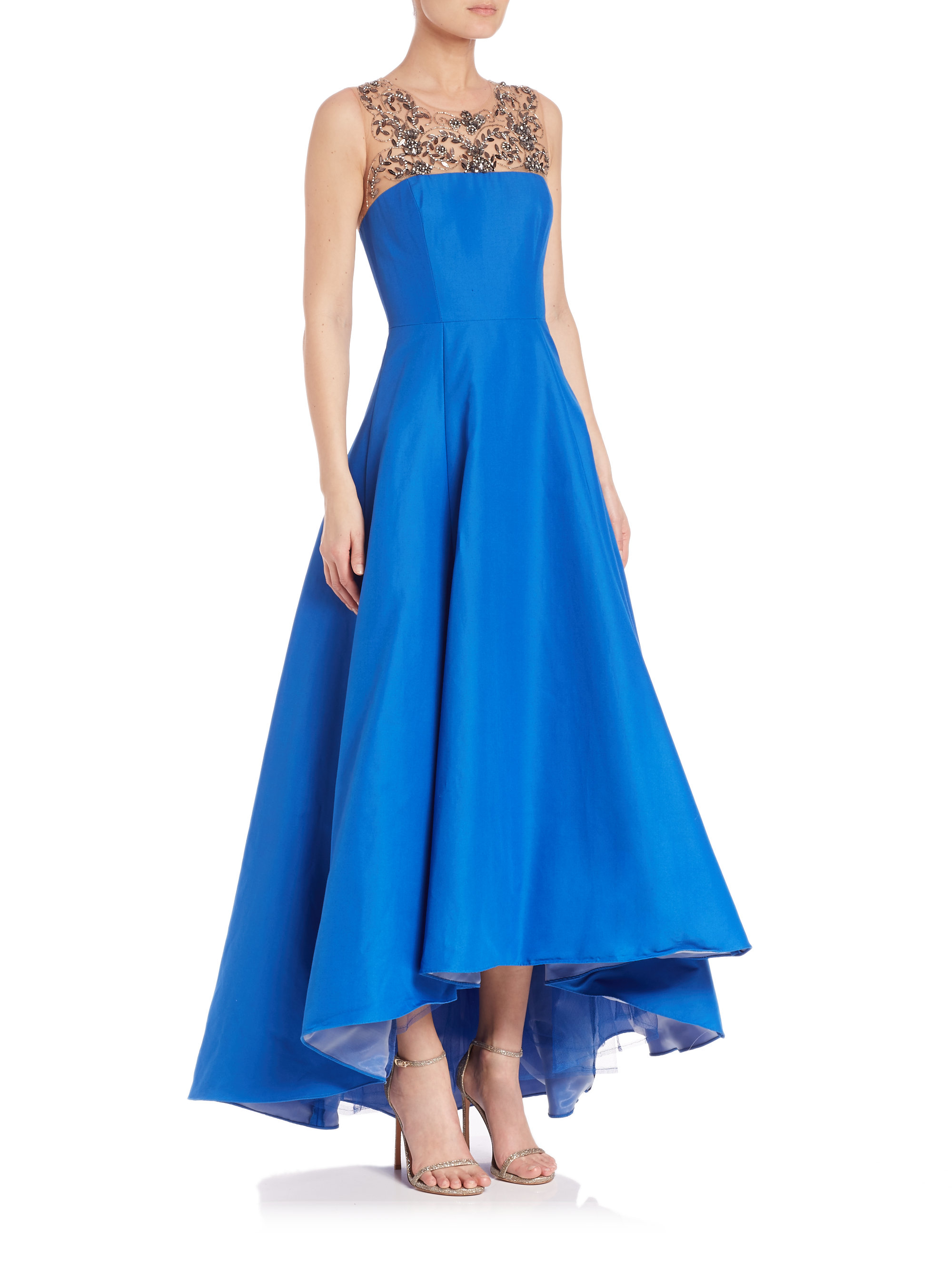 cd0eac4b Marchesa notte Beaded Hi-lo Gown in Blue - Lyst