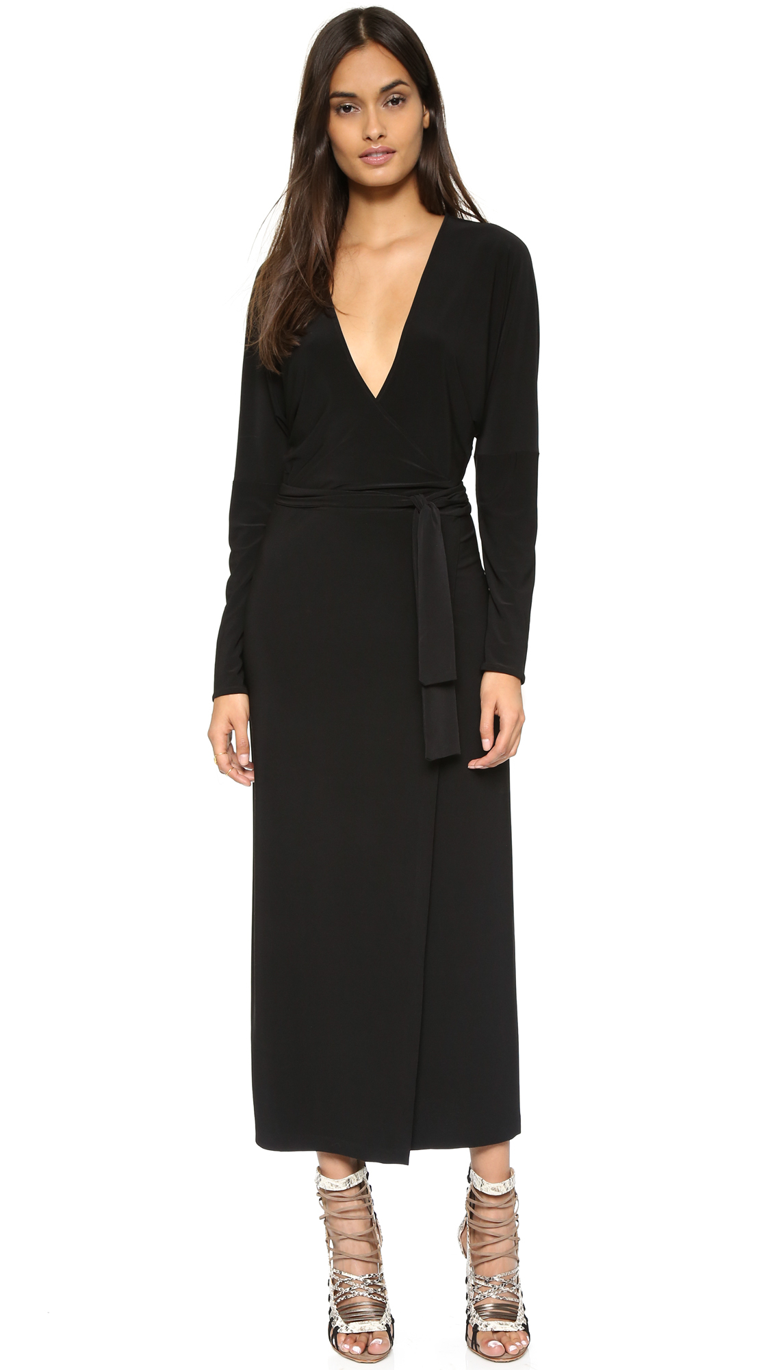 Lyst Norma Kamali Kamali Kulture Dolman Wrap Dress In Black