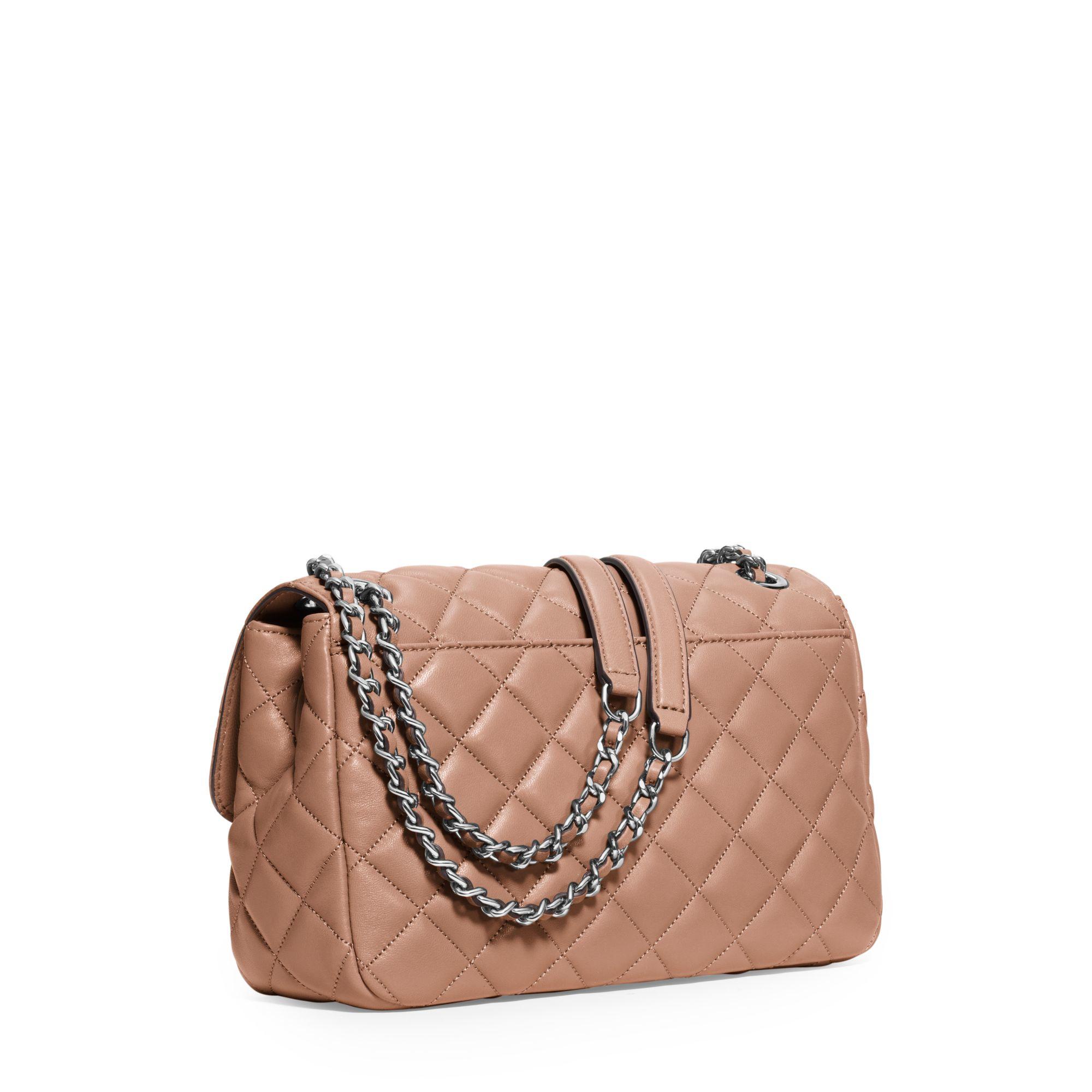 Lyst - Michael Kors Sloan Large Quilted-leather Shoulder Bag in Pink 23b7432fb