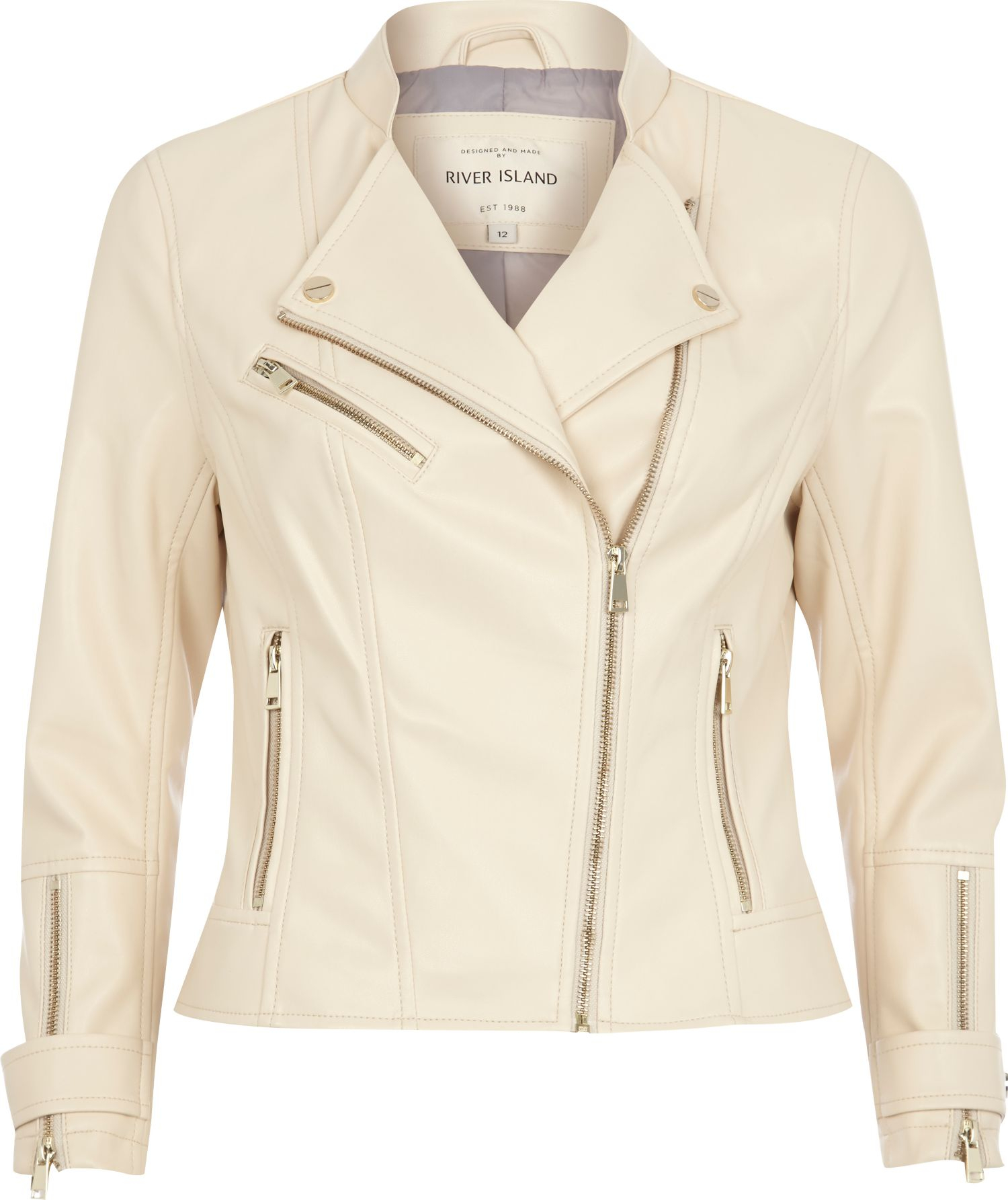 Lyst - River island Cream Leather-Look Biker Jacket in Natural