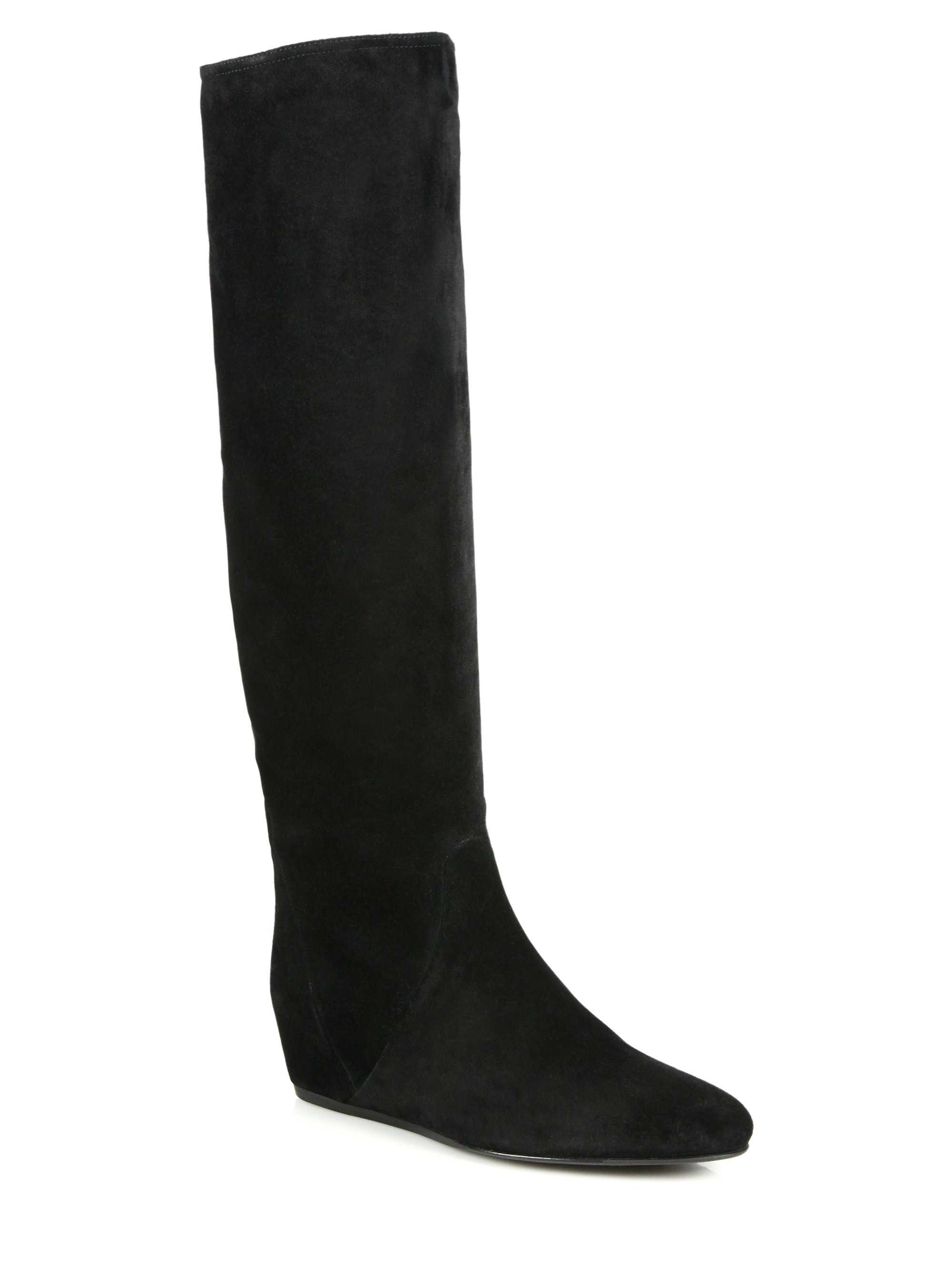 d920f16a7147 Lyst - Lanvin Suede Knee-high Hidden Wedge Boots in Black