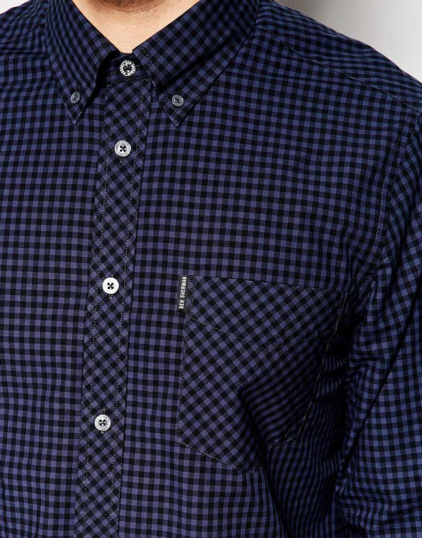 Ben Sherman Shirt With Gingham Check In Blue For Men Lyst