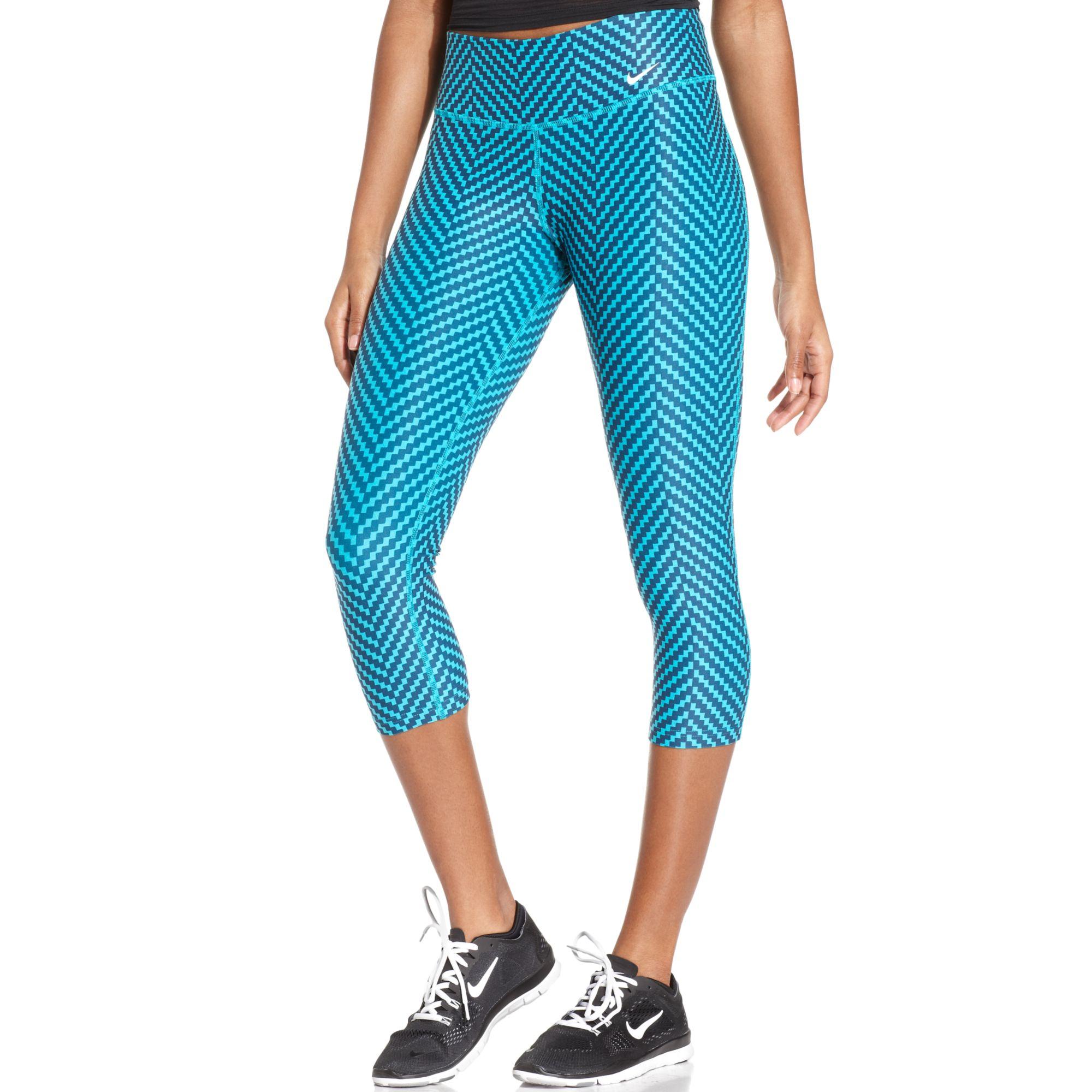 7864126133fb7 Lyst - Nike Legend 20 Printed Drifit Capri Leggings in Blue