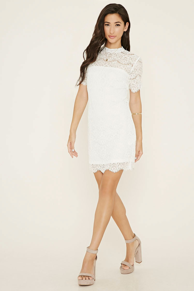 Forever 21 Eyelash Lace Mini Dress in White | Lyst - photo #45