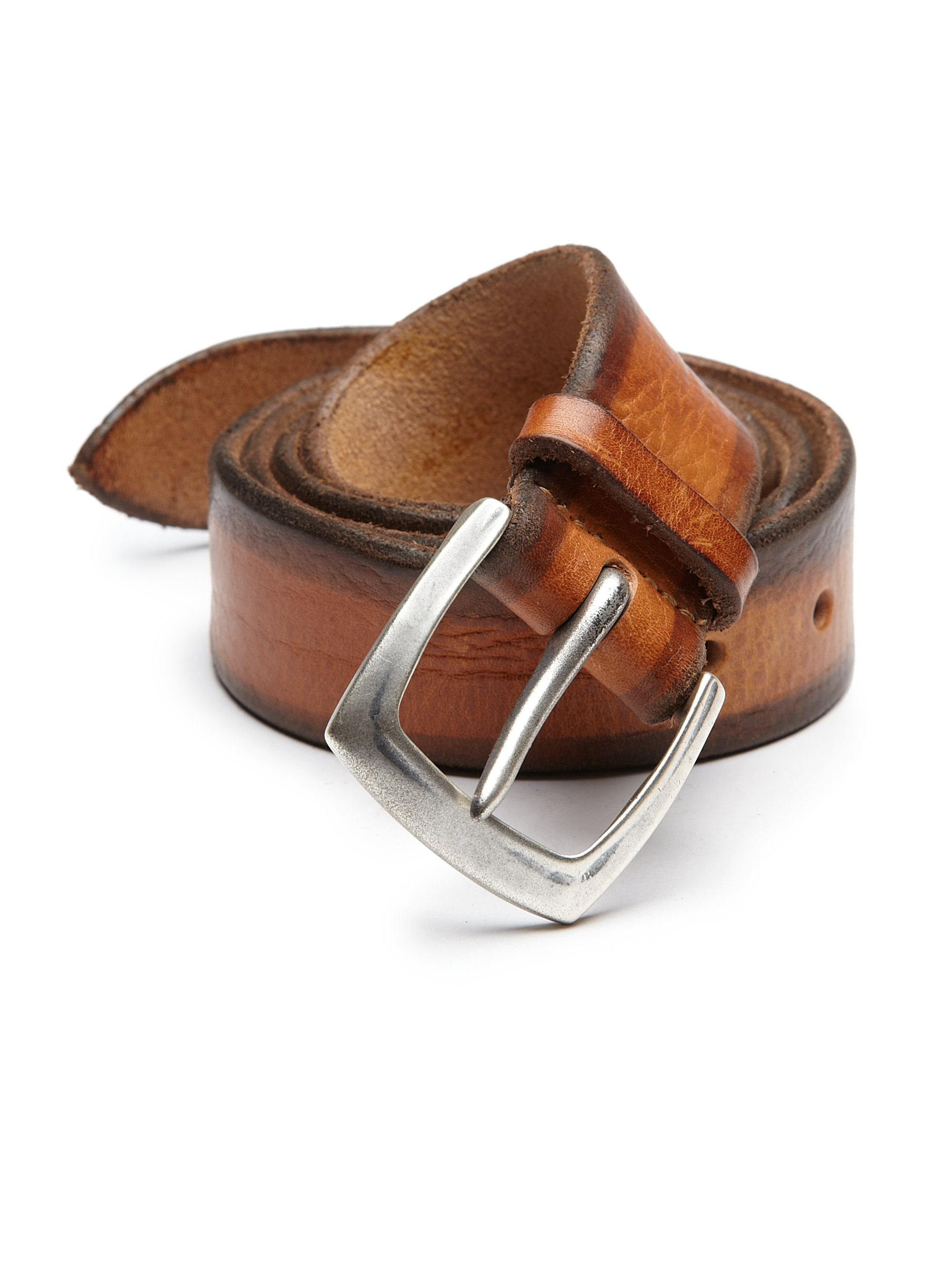orciani distressed leather belt in brown for lyst