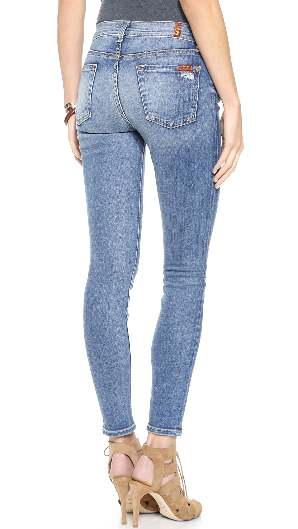lyst 7 for all mankind the ankle skinny jeans absolute heritage in blue. Black Bedroom Furniture Sets. Home Design Ideas