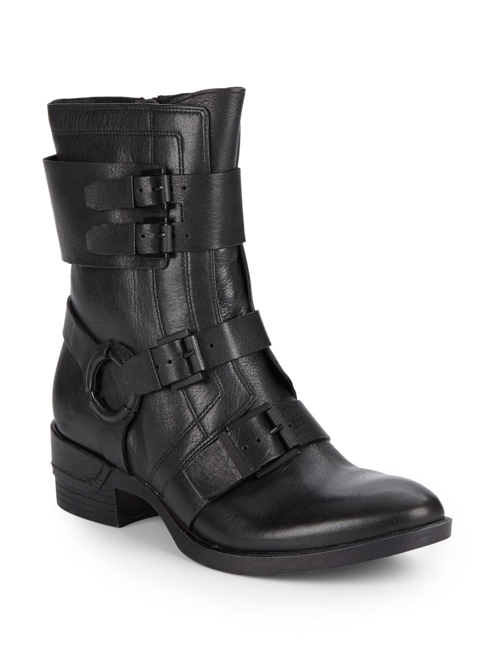 kenneth cole lawton buckle leather boots in black lyst