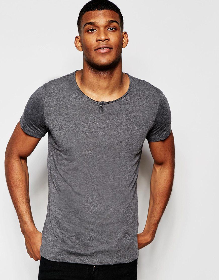 Lyst Blend T Shirt Wide Neck One Button Henley Melange