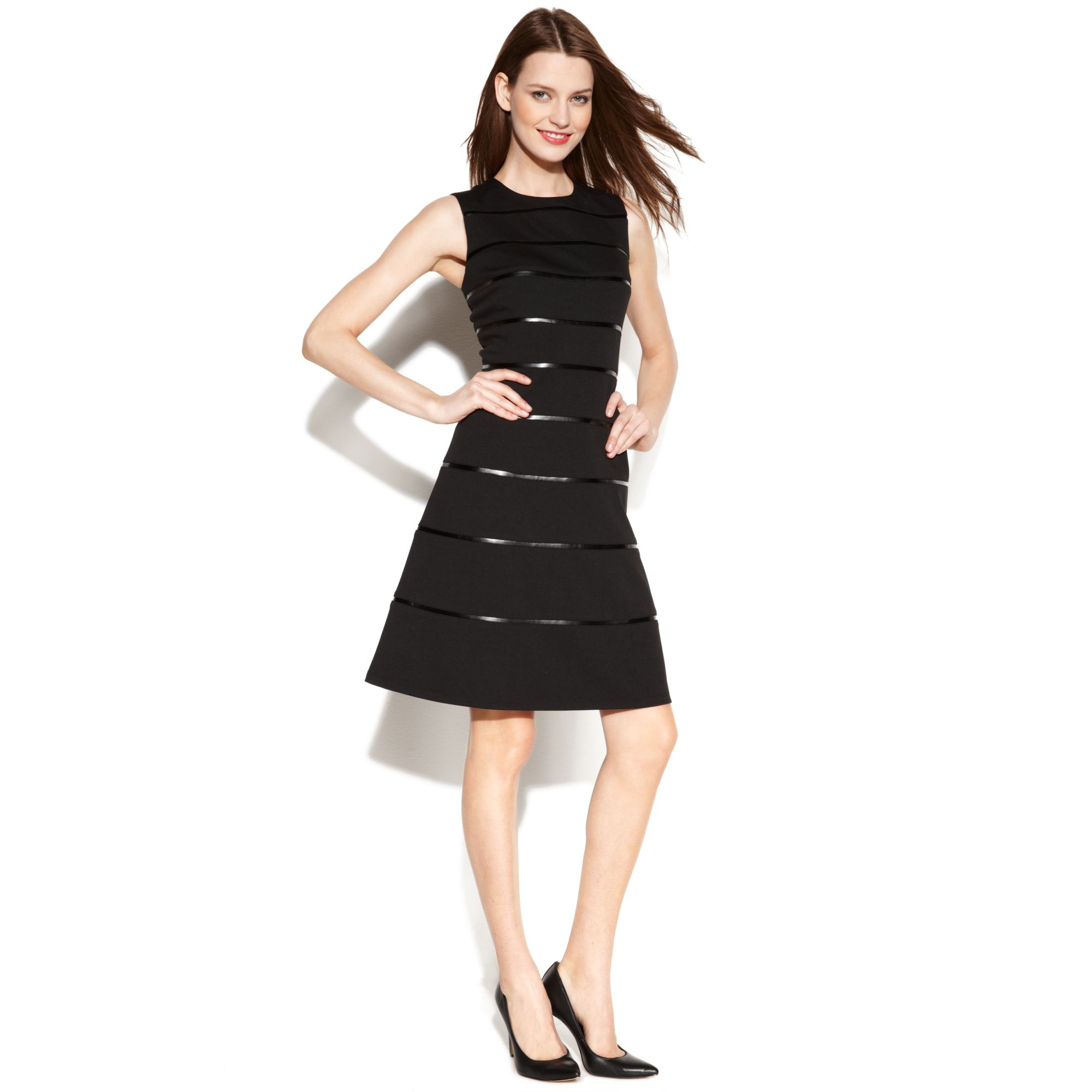 Lyst Calvin Klein Sleeveless Fauxleather Striped Dress