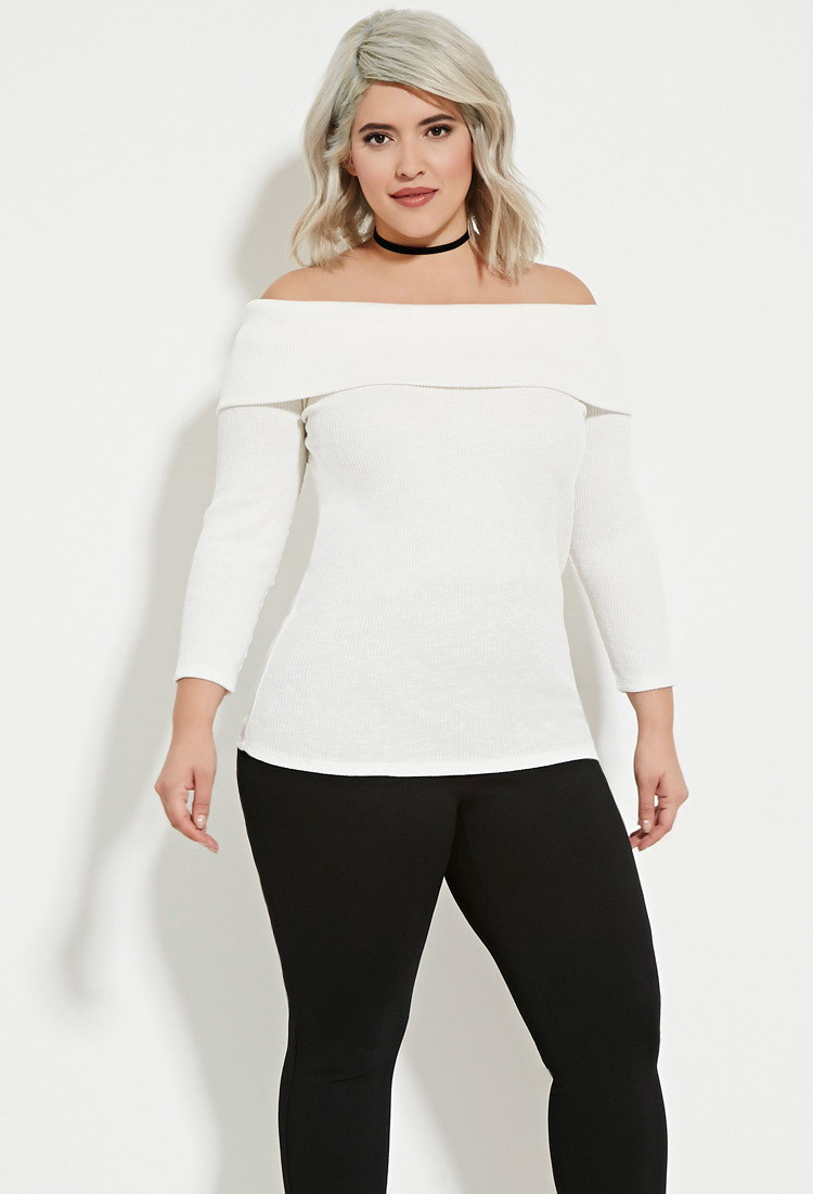 Forever 21 Plus Size Off-the-shoulder Sweater in White | Lyst