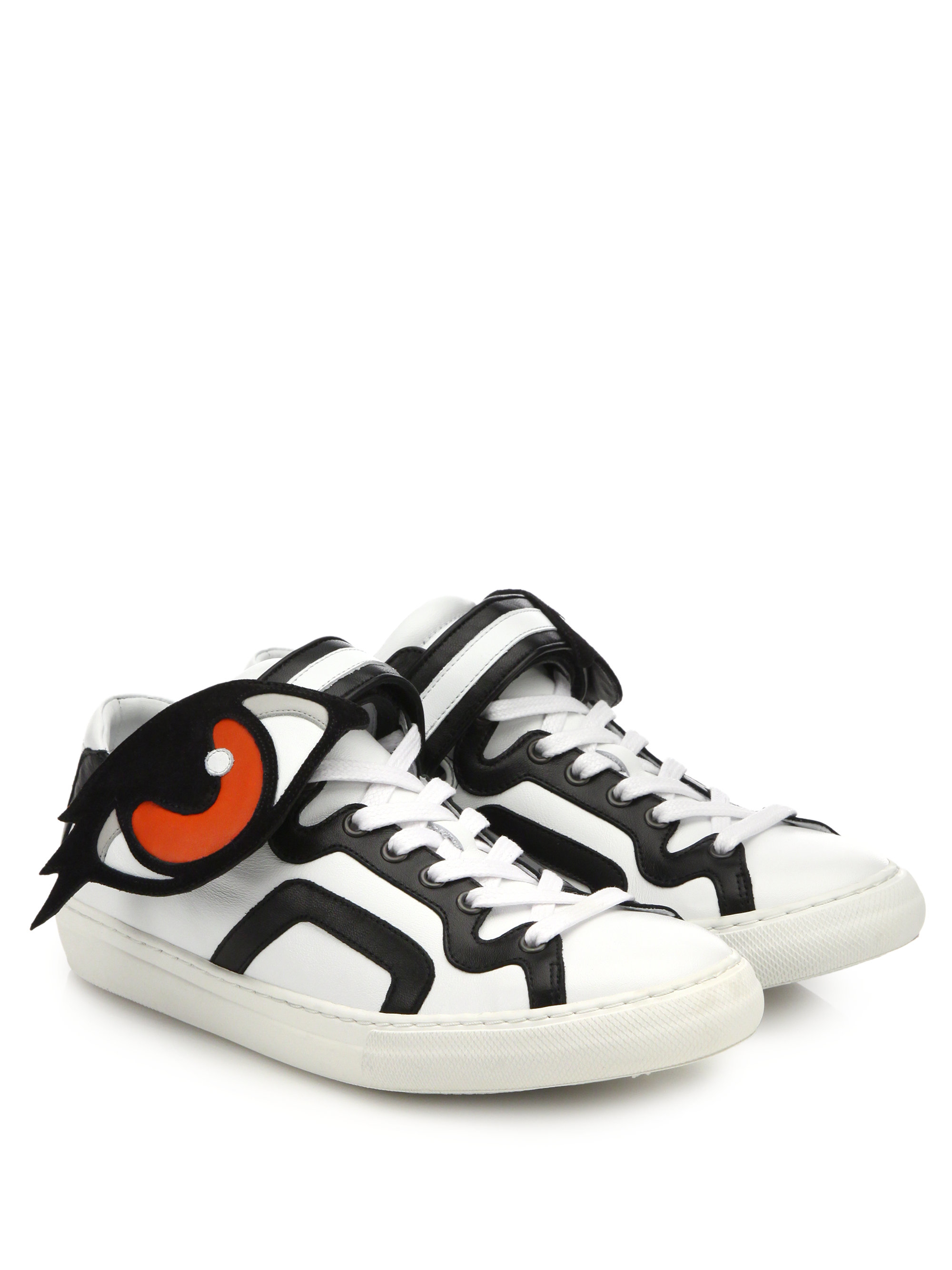 lyst pierre hardy eye paneled leather sneakers in white. Black Bedroom Furniture Sets. Home Design Ideas