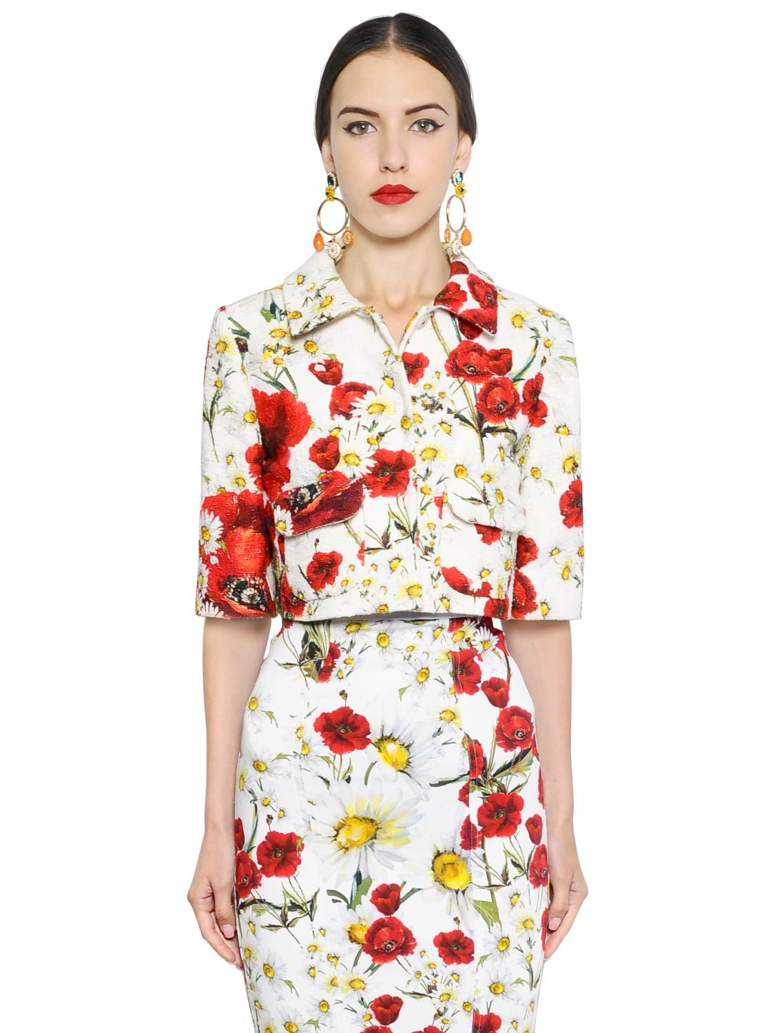 lyst dolce gabbana daisy and poppy print jacket in white. Black Bedroom Furniture Sets. Home Design Ideas