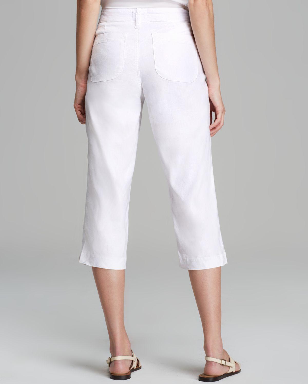 White Linen Cropped Pants   Gpant