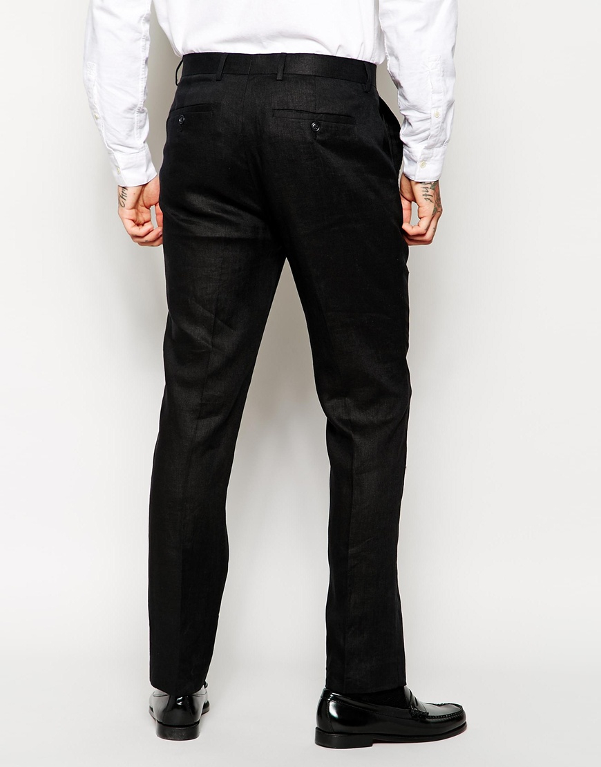 Asos Slim Fit Cropped Suit Trousers In 100% Linen in Black for Men ...