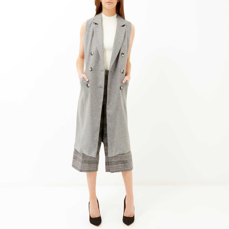 734126c8b43f6 River Island Light Grey Sleeveless Coat in Gray - Lyst