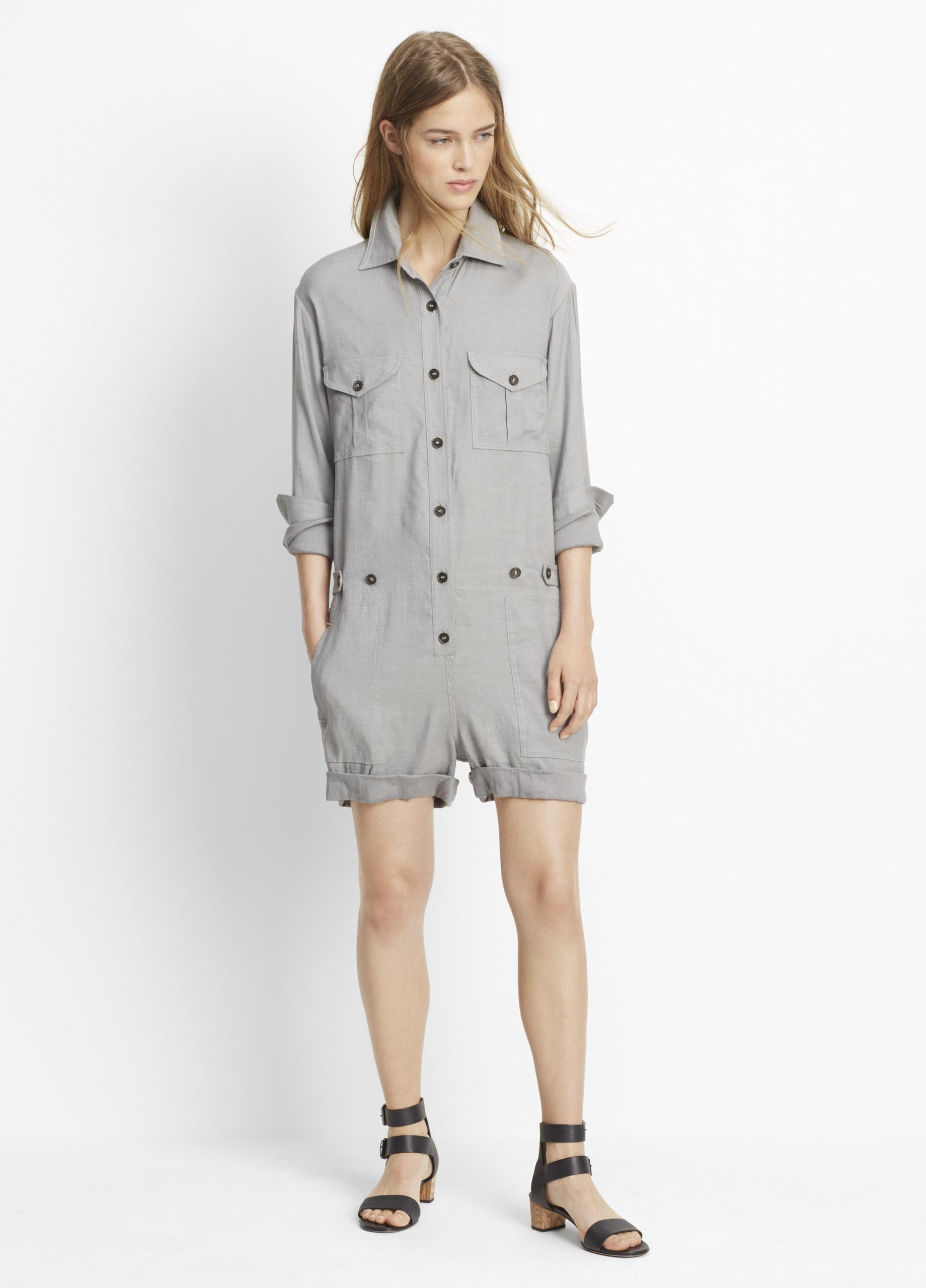 50164dba06ac Lyst - Vince Linen Long Sleeve Romper in Gray