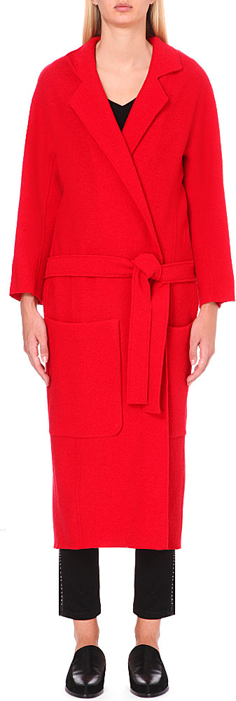 Maje Long Belted Wool Wrap Coat in Red | Lyst