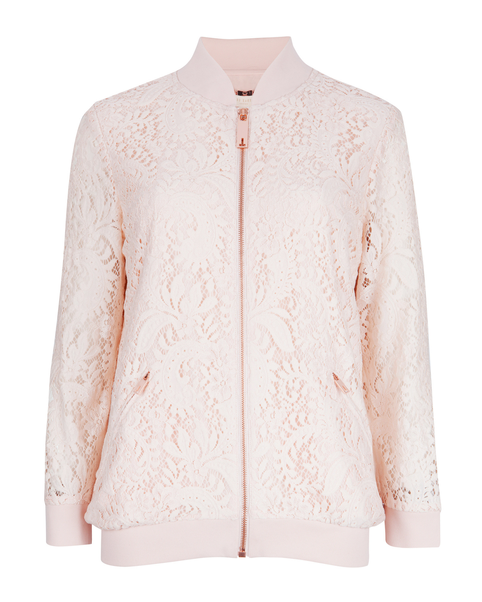 80d3ed1fd Lyst - Ted Baker Zairah Lace Bomber Jacket in Natural