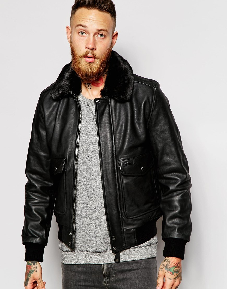 Schott nyc Leather Flight Jacket With Faux Fur Collar in Black for ...
