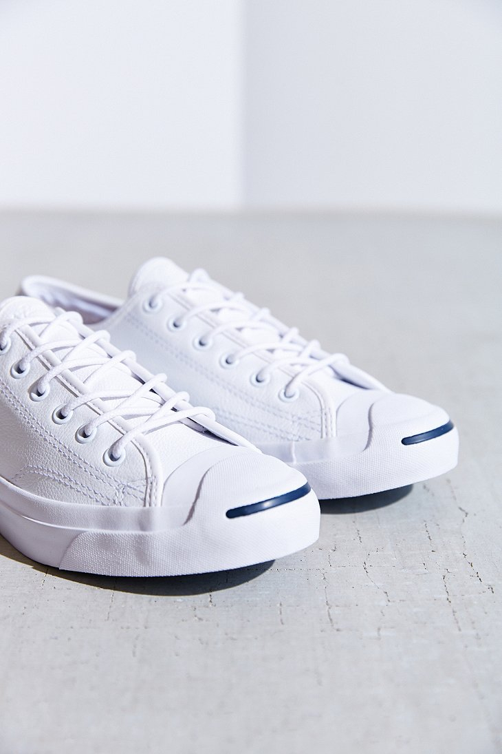 3e43e15f78d783 Lyst - Converse Jack Purcell Tumbled Leather Low-Top Sneaker in White