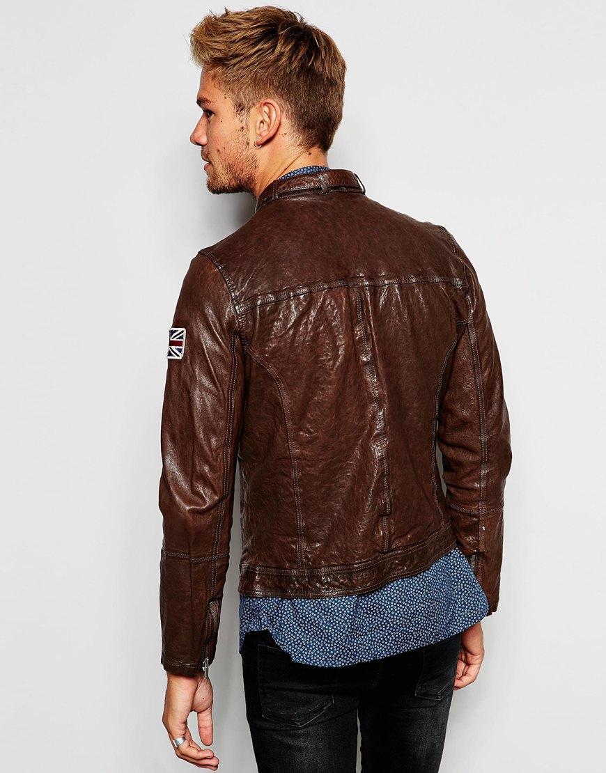 pepe jeans pepe leather biker jacket guzzi zip thru in. Black Bedroom Furniture Sets. Home Design Ideas