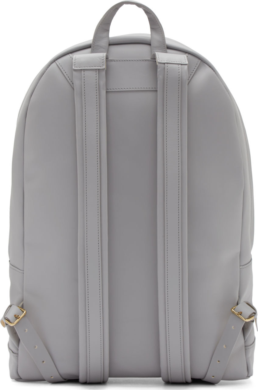 Pb 0110 Light Grey Leather Large Backpack in Gray for Men | Lyst