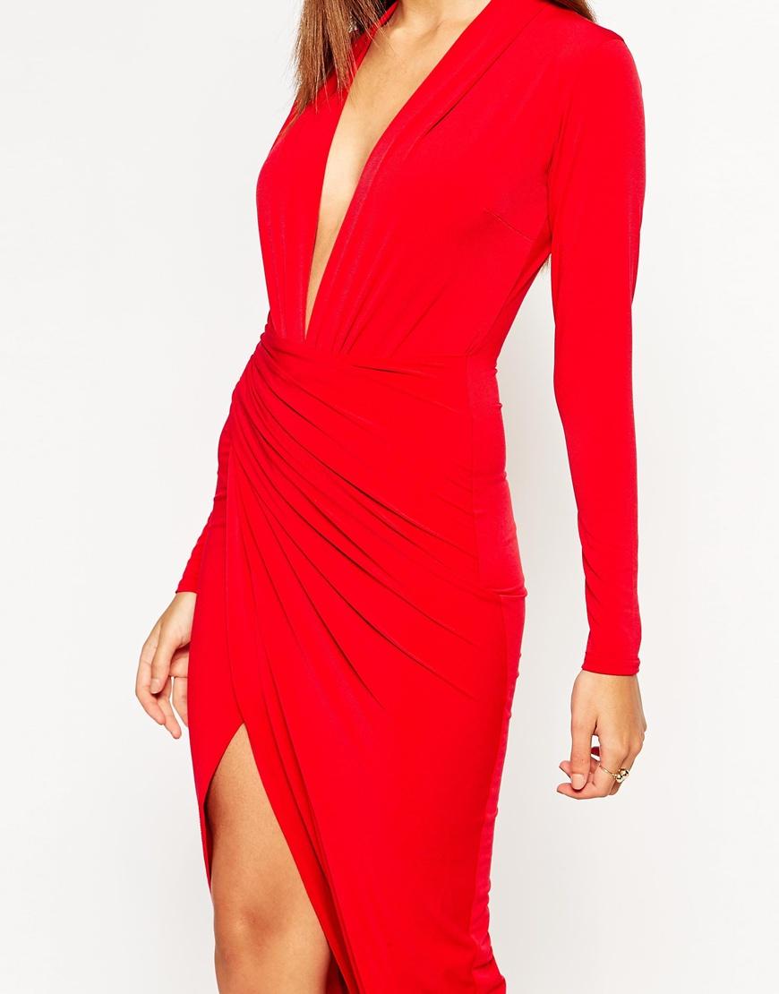 Lyst - John Zack Wrap Front Maxi Dress in Red b76f19cd31f9
