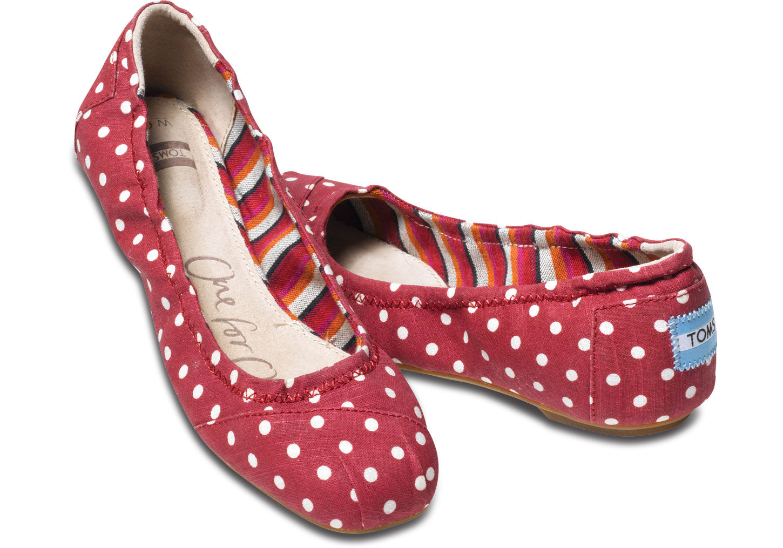 Toms Red Polka Dot Linen Ballet Flats in Red