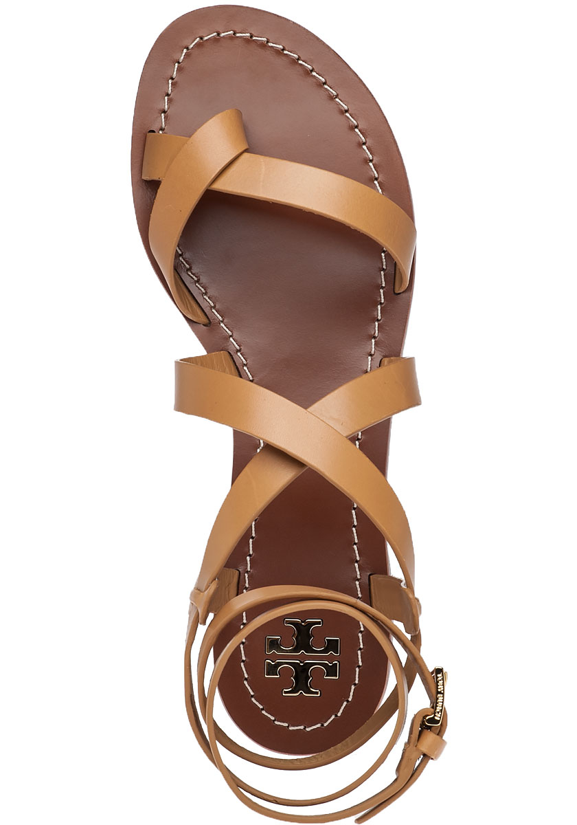 Lyst Tory Burch Patos Blond Leather Sandals In Brown