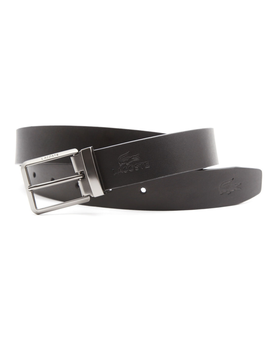Lacoste Black And Grey Leather Belt With Double Buckle Set In Black For Men Lyst