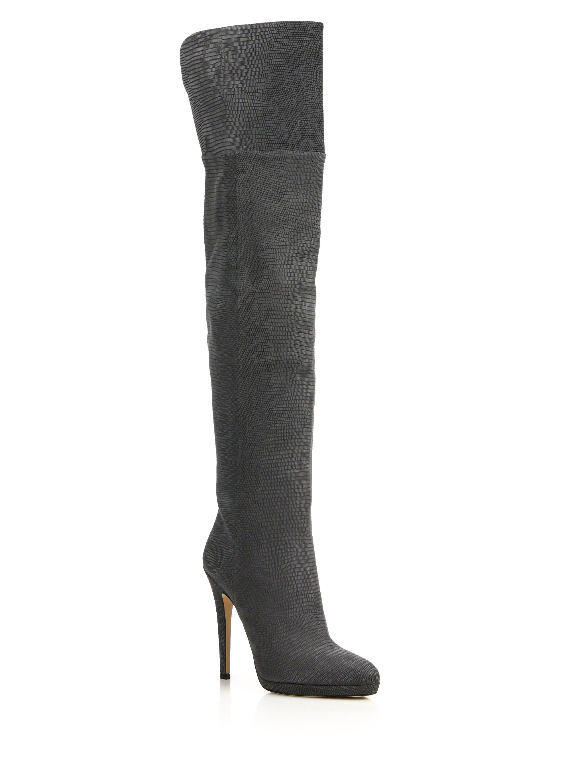 c5d0761394e Jimmy Choo Giselle Lizard-embossed Leather Over-the-knee Boots in ...