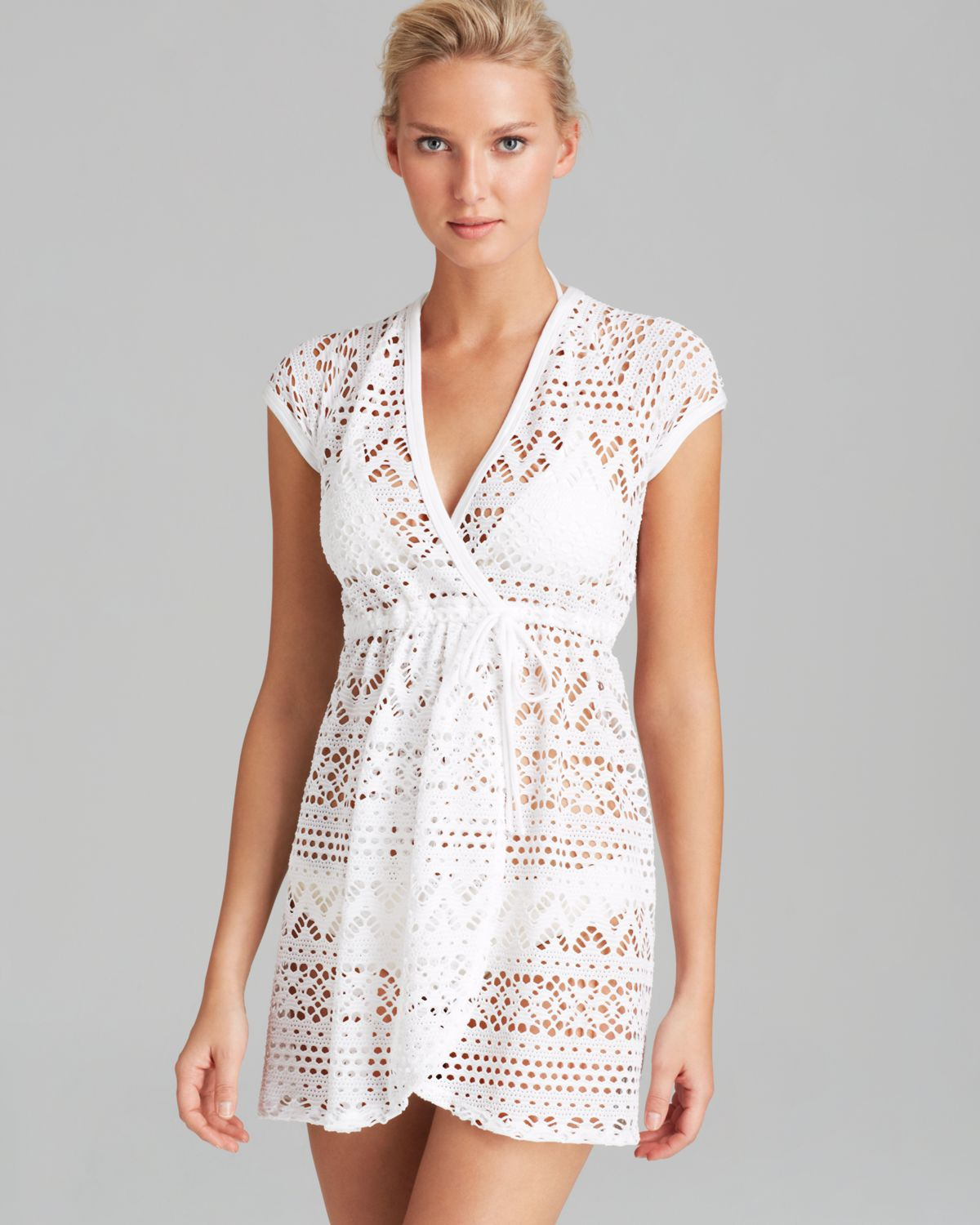 4018b424d0640 Robin Piccone Penelope Sheer Wrap Dress Swim Cover Up in White - Lyst