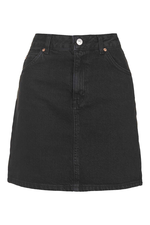 topshop moto high waist denim skirt in black lyst