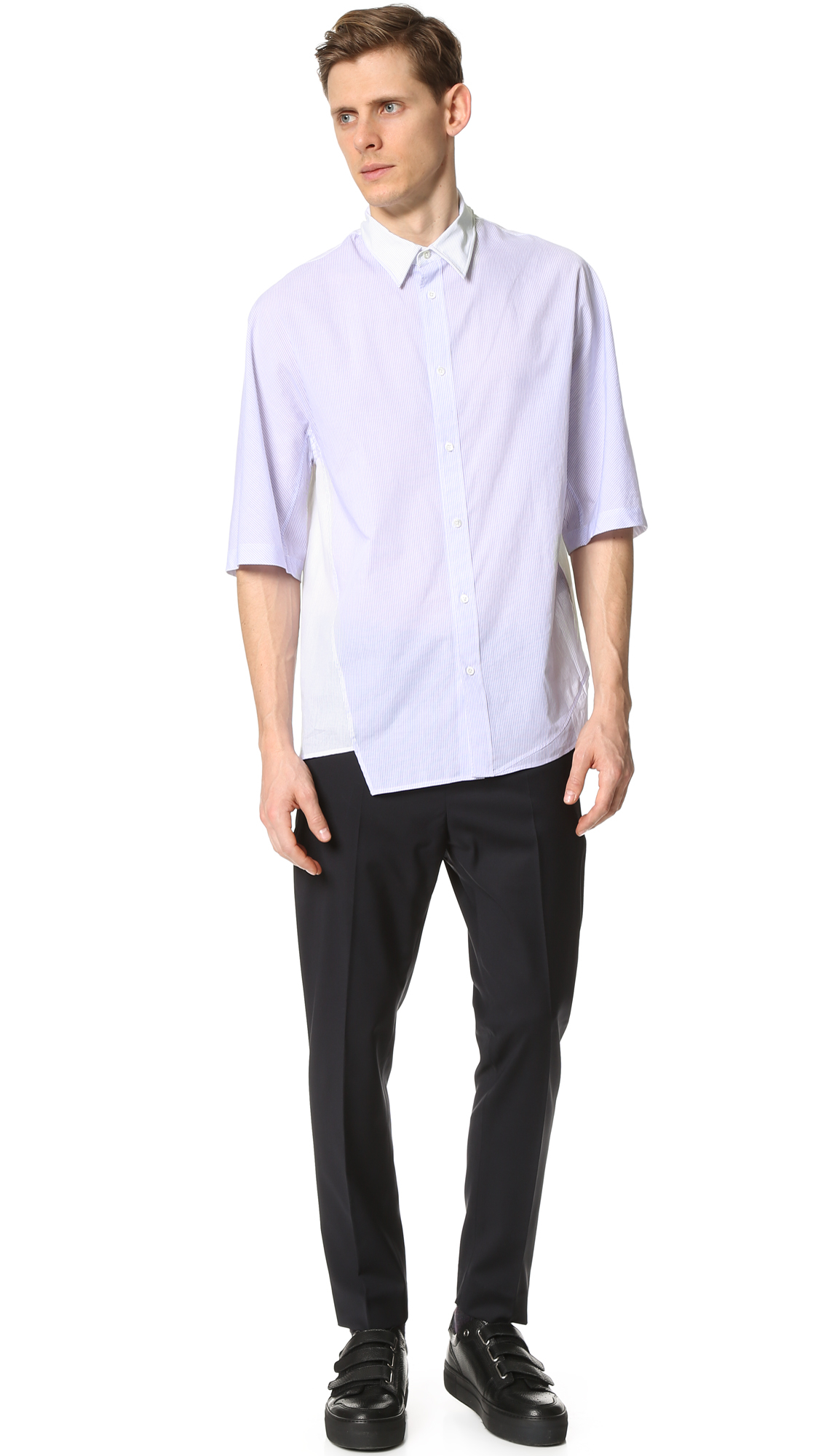 3 1 Phillip Lim Asymmetrical Short Sleeve Shirt With