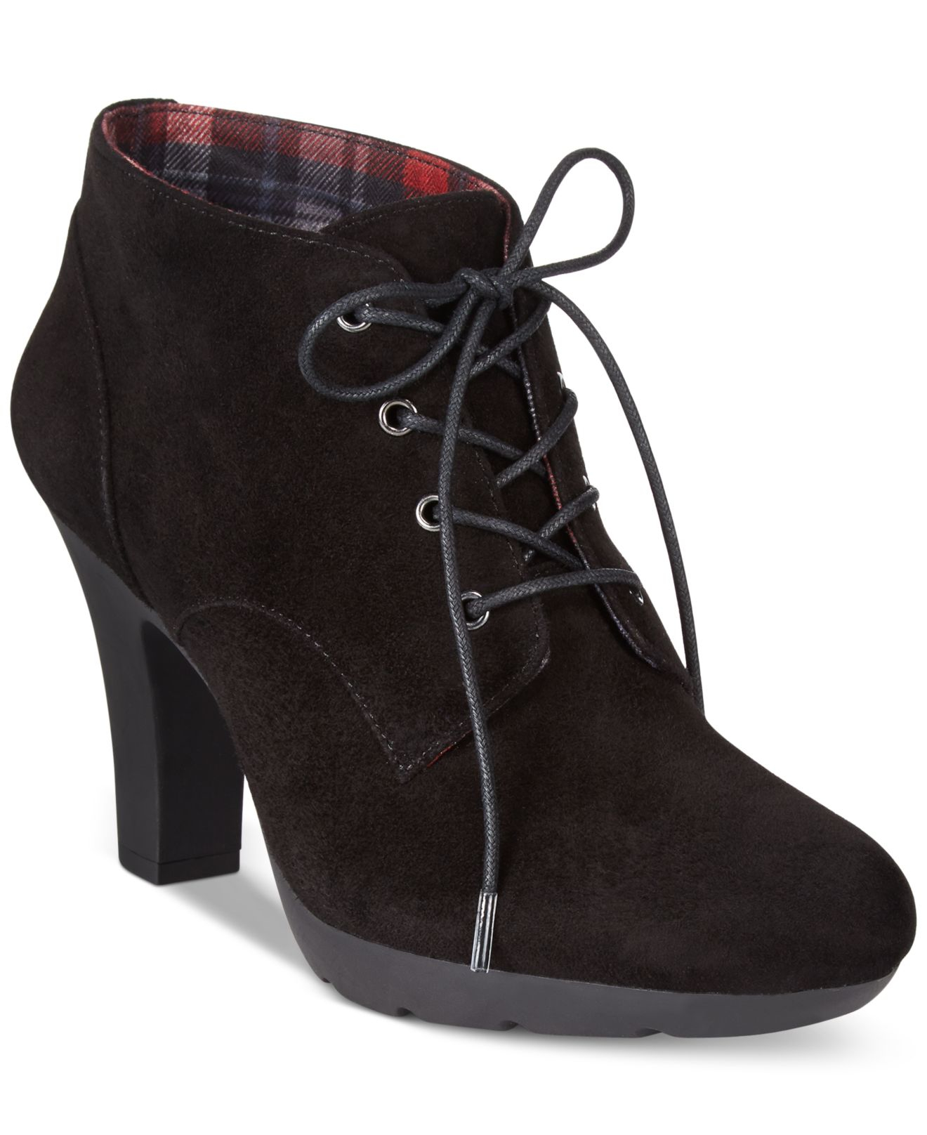 bandolino garett casual lace up booties in black lyst