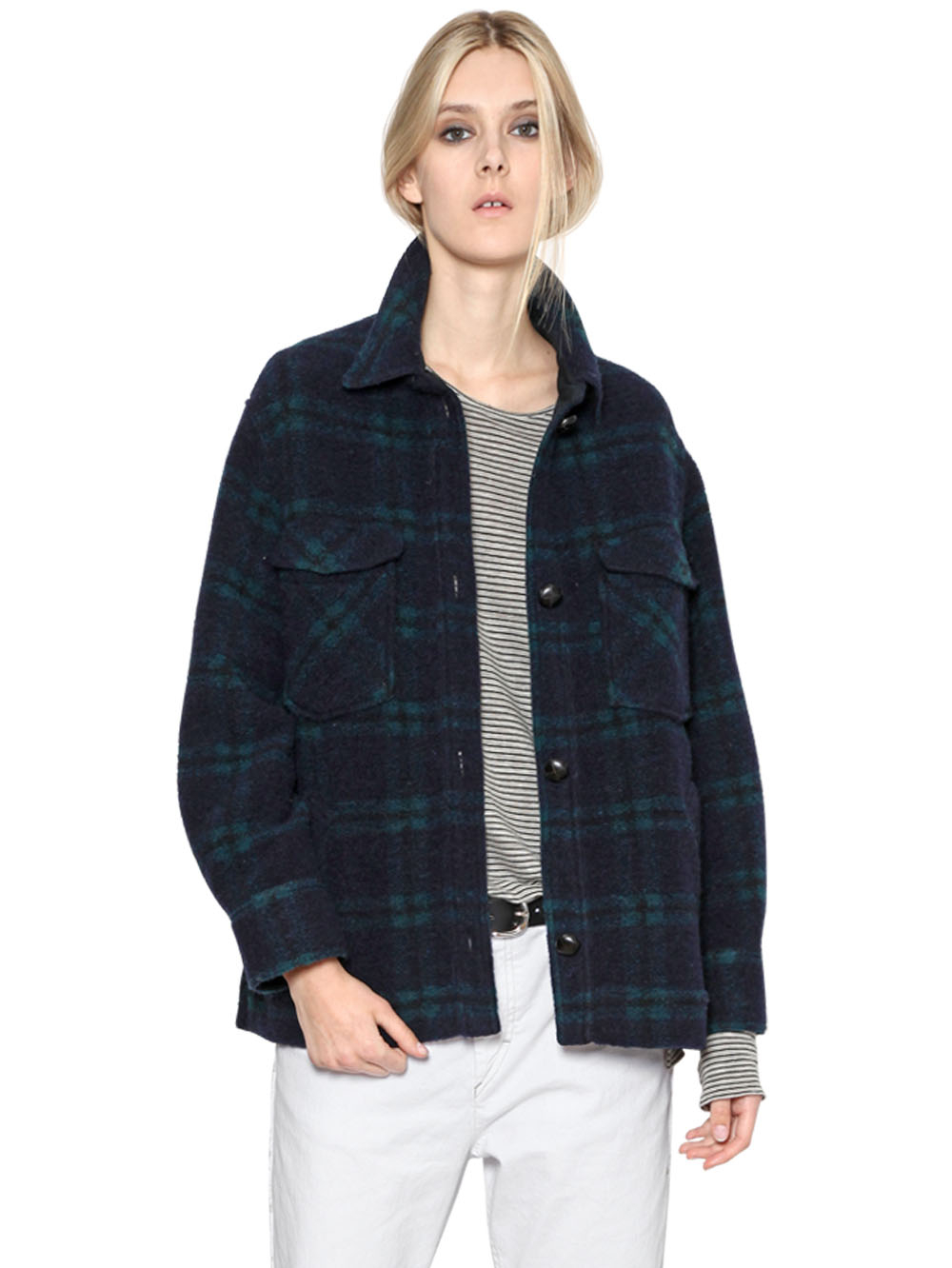 toile isabel marant plaid wool flannel jacket in green lyst. Black Bedroom Furniture Sets. Home Design Ideas
