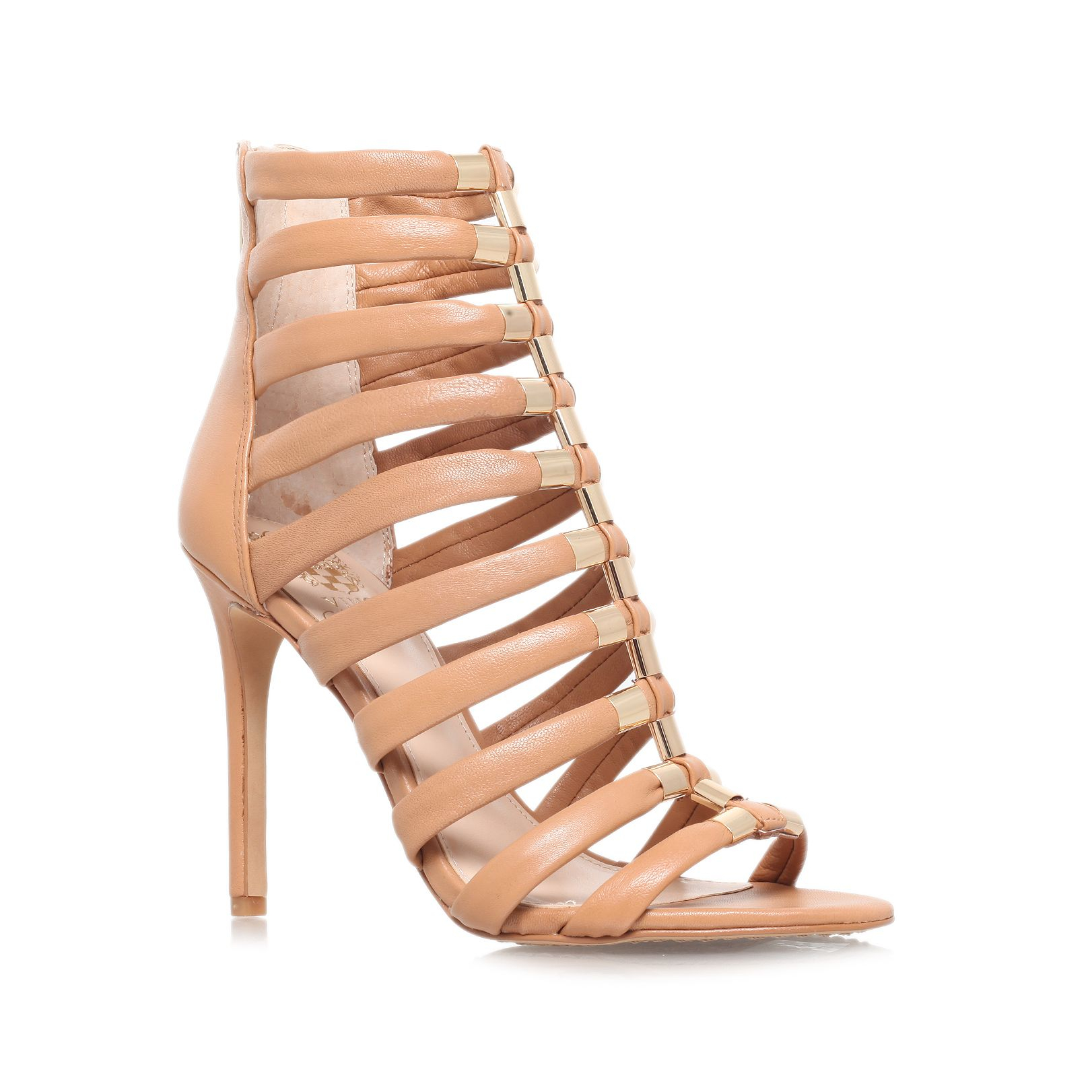 Vince Camuto Troy High Heel Strappy Sandals In Brown Lyst