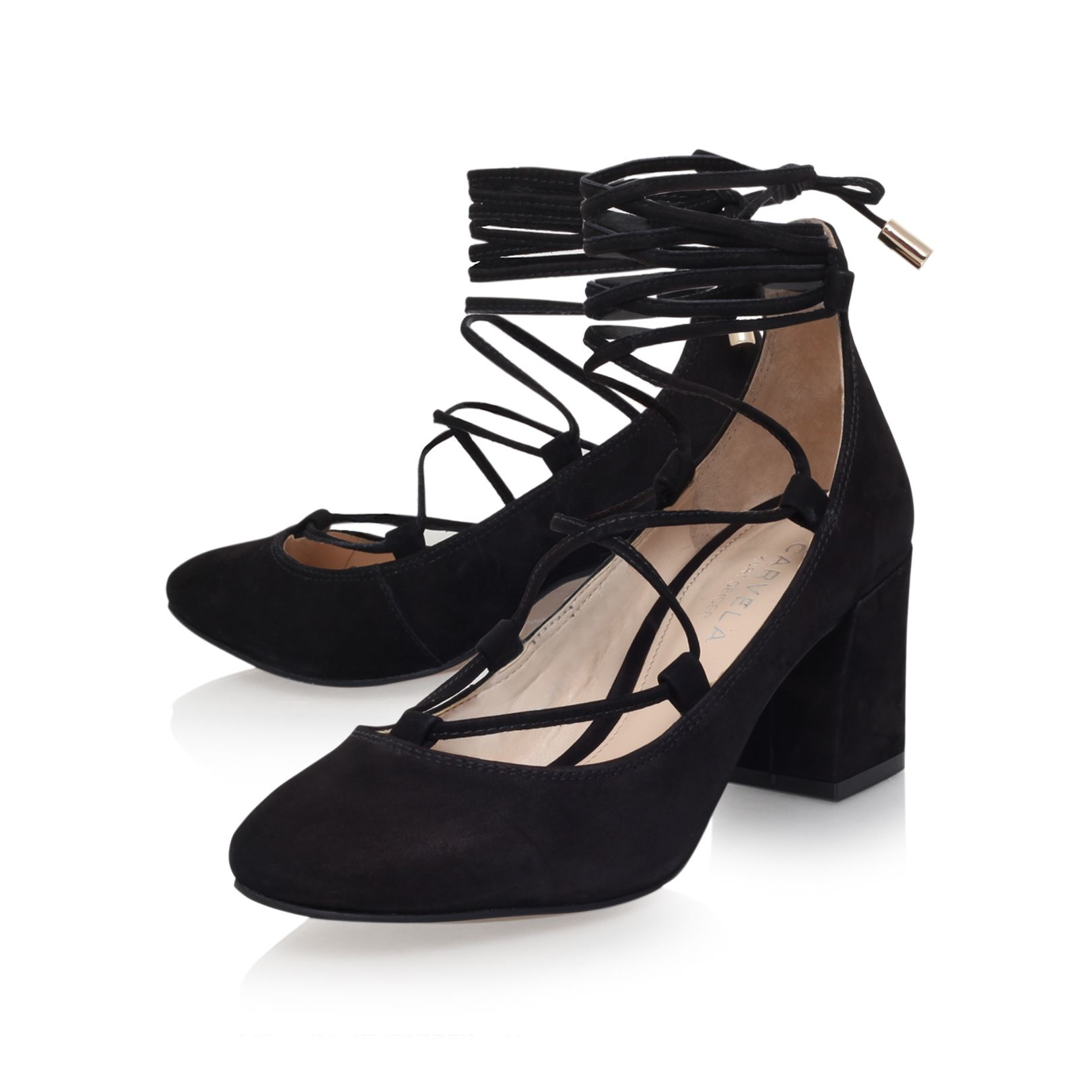carvela kurt geiger aid high heel court shoes in black lyst