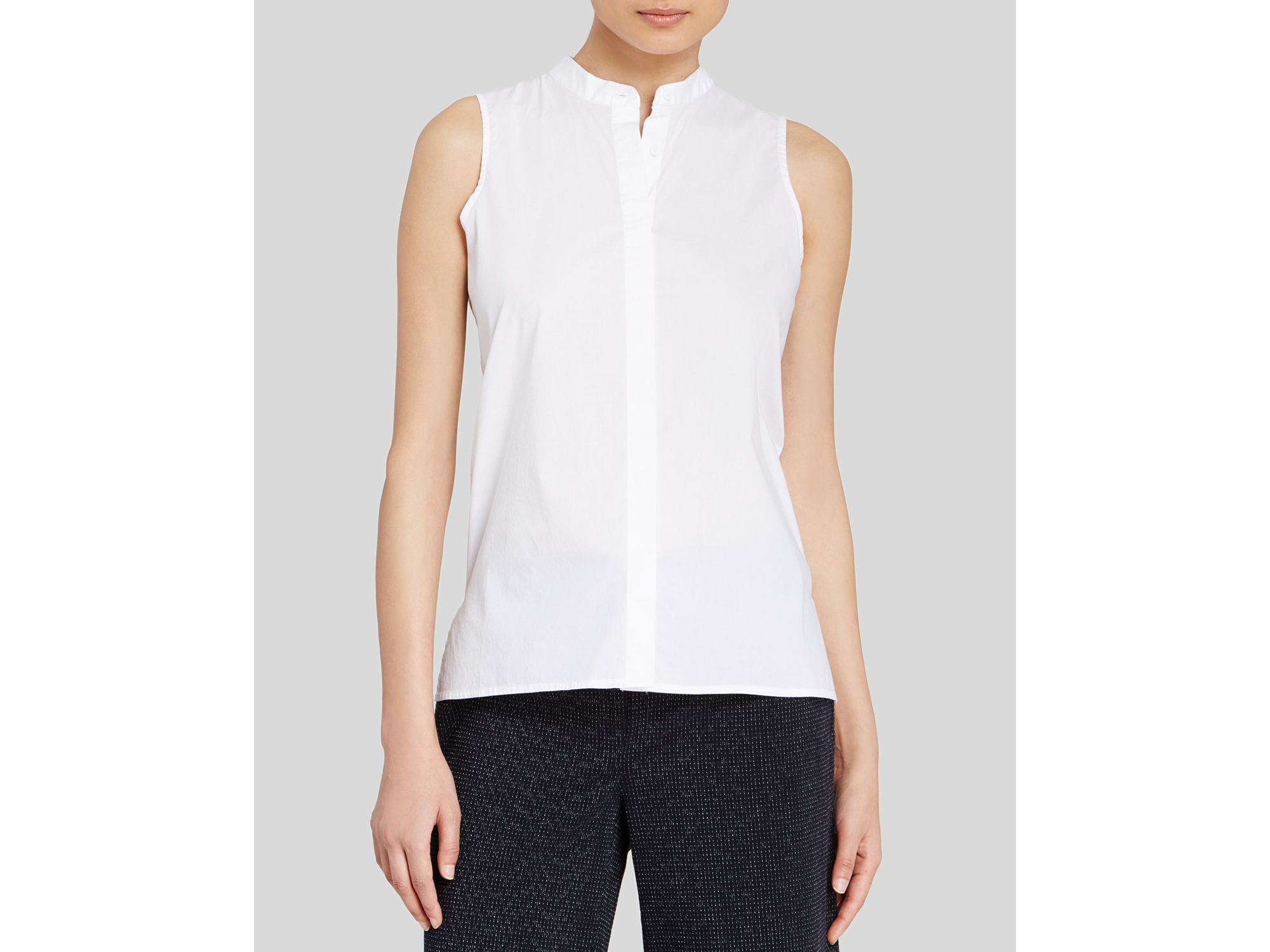 988dbee1a03bfe Eileen Fisher Mandarin Collar Sleeveless Shirt in White - Lyst